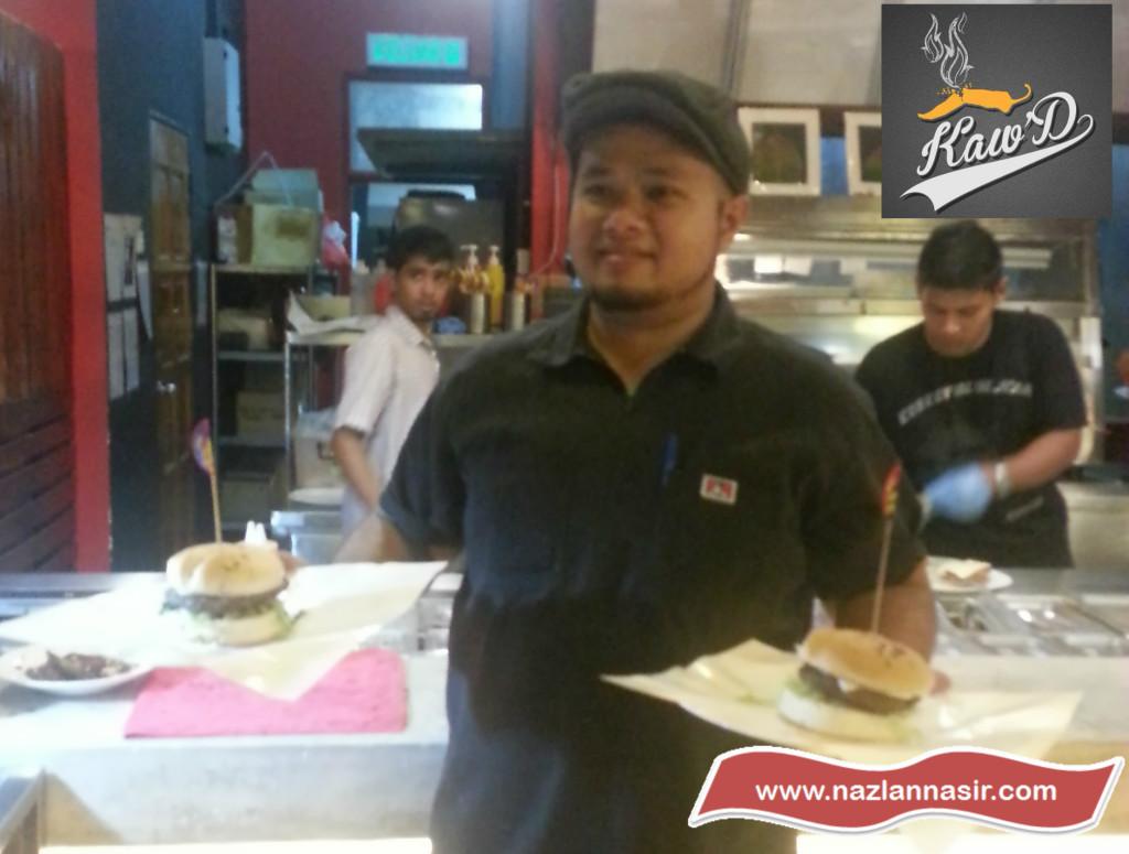Chef Zam Serving Kaw'D Burger