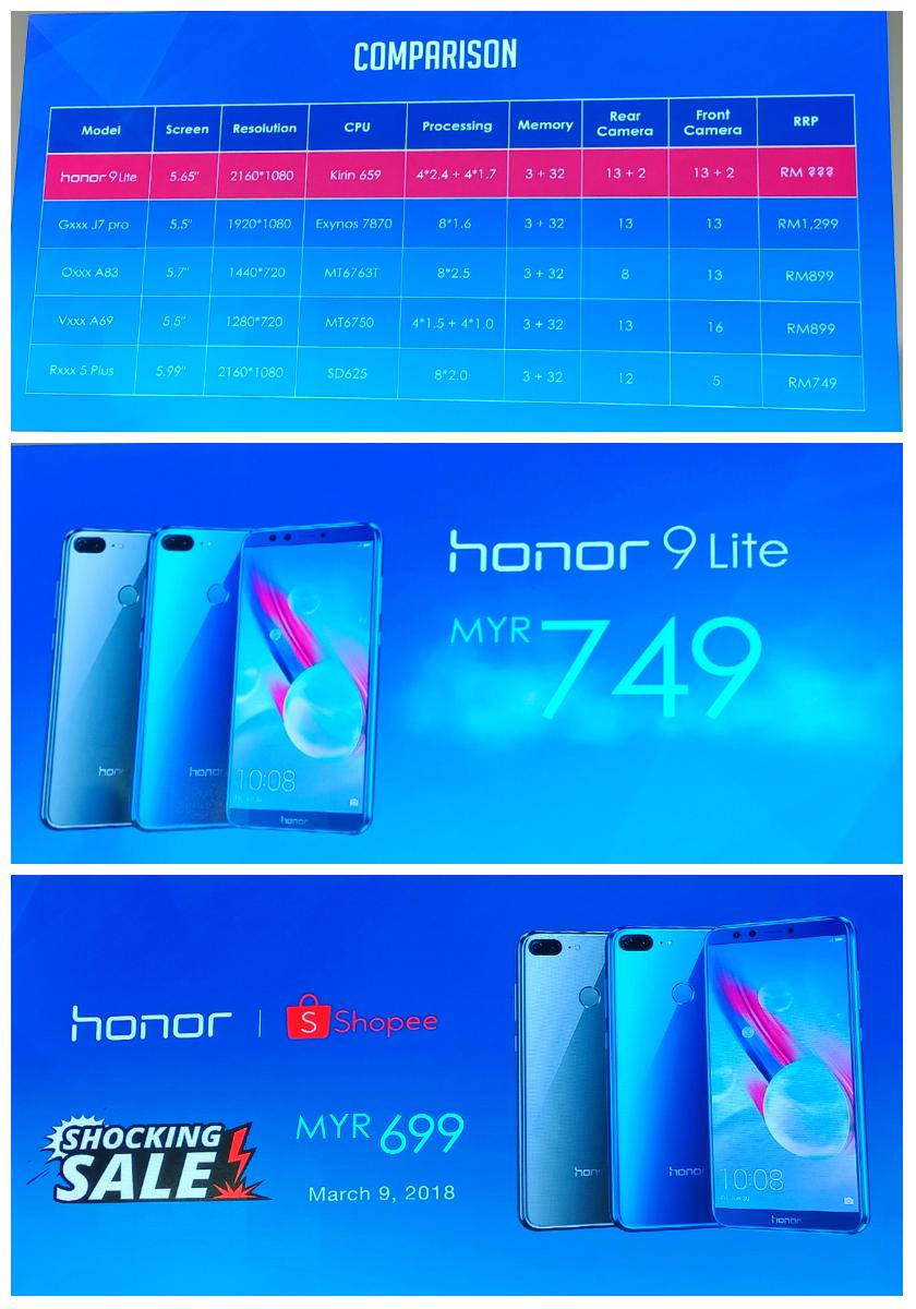 Perbandingan harga honor 9 Lite
