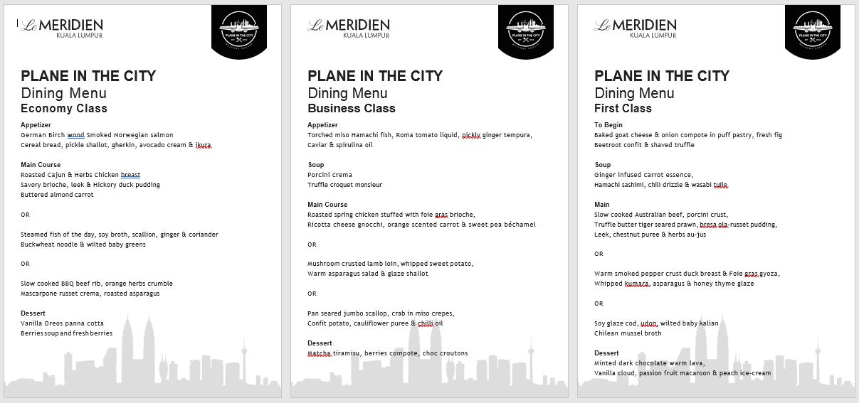 Menu Plane In The City