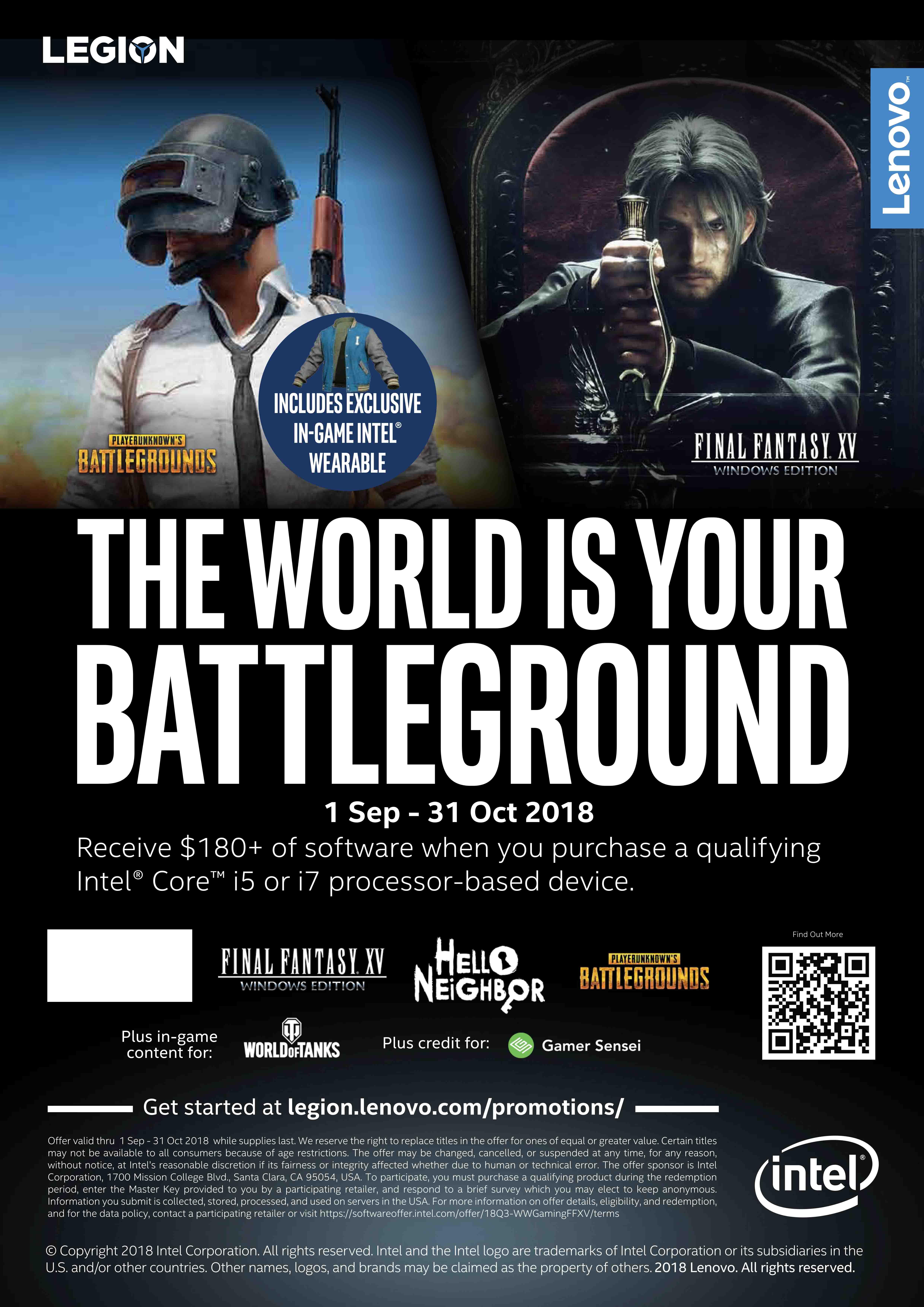 Gamers Malaysia Kini Dapat Nikmati Muat Turun Permainan Premium Percuma dengan Lenovo Legion dan Intel