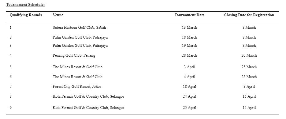 MercedesTrophy Schedule