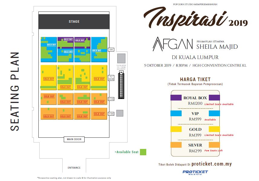 Konsert Inspirasi Afgan 2019 Seating Plan