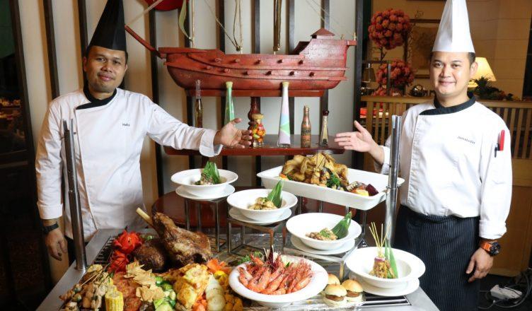 Chef dengan sajian 4-dalam-1 bufet makan malam