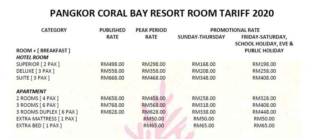 Pangkor Coral bay Resort Room Tariff 2020