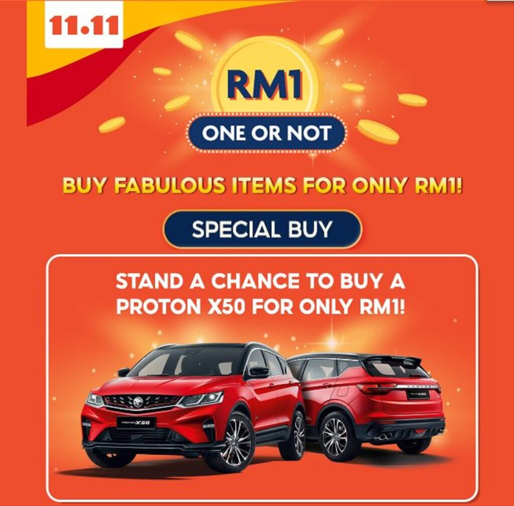 Jualan Hebat Shopee 11.11 - RM1 One or Not